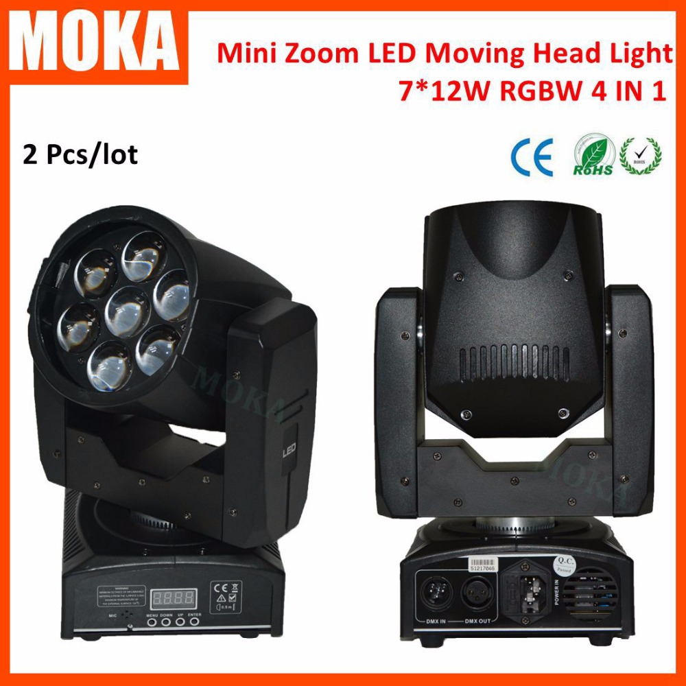 2 Pcs/lot 7*12W zoom LED MINI stage light rgbw led wash moving head gobo beam light dmx 16 channels For Disco Nightclub DJ Bar