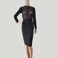 2016 women winter dresss women studded olive mesh high neck black pink gray red bodycon knee length bandage dress vestidos