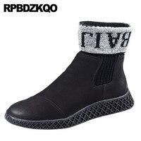 Кроссовки Челси черные Подиумные из искусственного меха с натуральным лицевым покрытием кожаные туфли на высокой подошве мужские зимние б