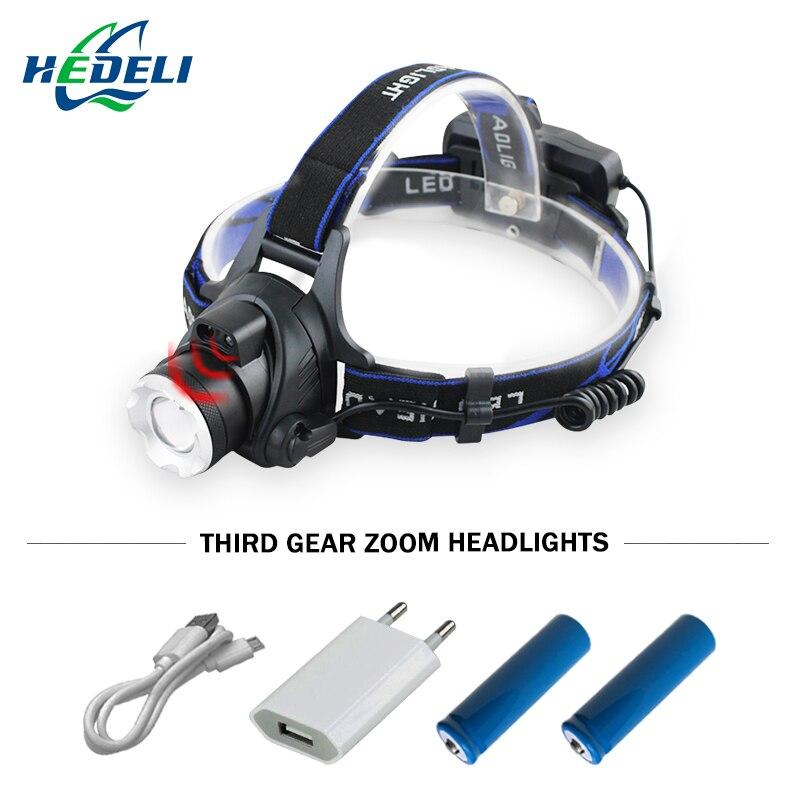IR Capteur Phare CREE XM L2 Induction Micro USB Rechargeable Lanterne XML T6 Projecteur lampe frontale lampe de Poche Tête Torch18650