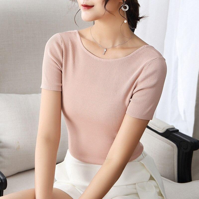 Qualité Arc Mode Black Supérieure Hauts pink Femmes Courtes Tricoter Noir Manches Nouveau Retour Jumper Sexy Printemps Rose Dames Pull 2019 Cavaliers À 0B55wxPR