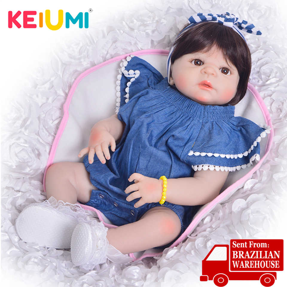 KEIUMI 23 Inch Full Body Silicone Reborn Baby Dolls For kids Playmates Realistic 57 cm Princess Dolls Reborn Fashion Boneca Gift