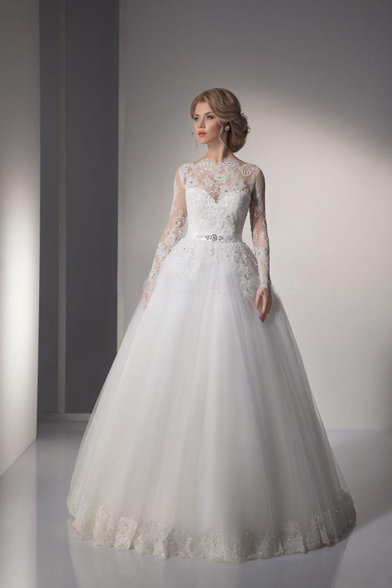 Sexy lace ball gown wedding dresses 2015 long sleeve for Plus size wedding dresses with color and sleeves