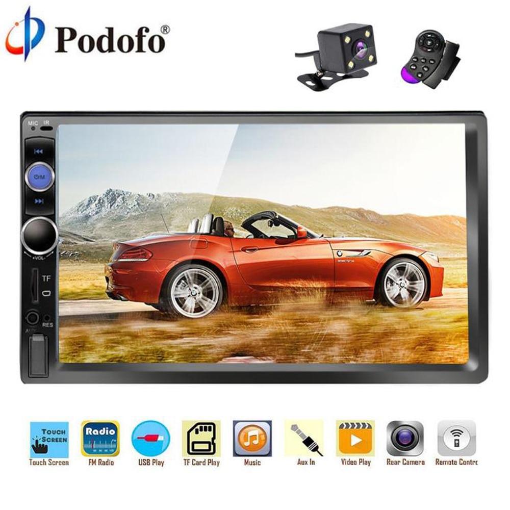 Podofo 2 din car radio 7 HD Multimedia Player MP5 Digital Display Stereo Audio Bluetooth USB 2din Autoradio Car Backup Monitor цена
