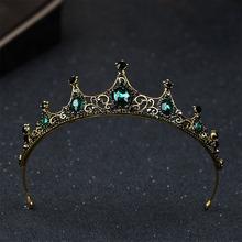 Hair Accessories For Girls Kids Tiaras Vintage Baroque Green Crystal Crown Headwear Wedding Flower girl Tiara Headpieces