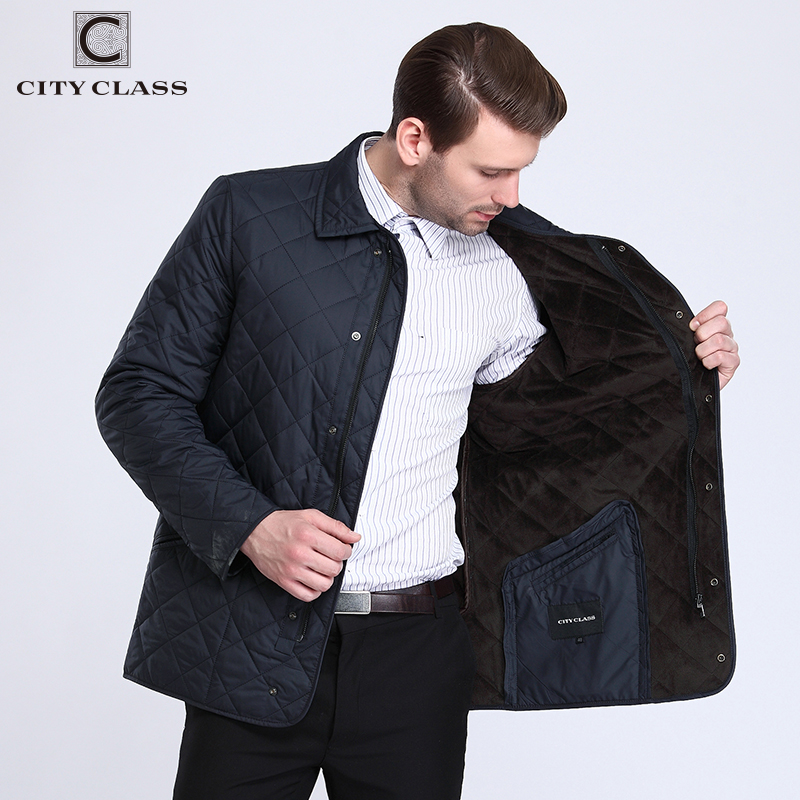 CITY CLASS New Business Spring Autumn Mens Quilted Jackets Fashion Lining Fleece Casual Coat Tops For Male 15307