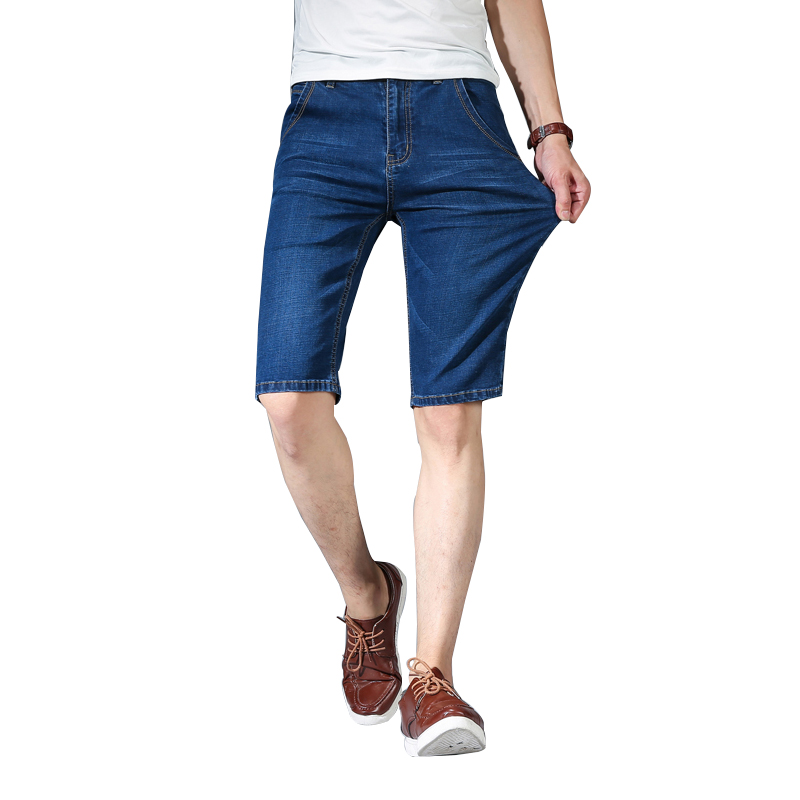 Summer New Mens Knee Length Short Denim Jeans Classic Male Light Blue Thin Pants Slim Casual Breathable Brand Cotton ShortsZLS18