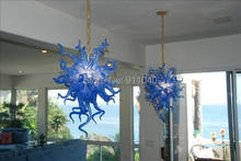 Ocean Blue Aqua Chain Chandelier LED CE UL 100% Hand Blown Glass Light Fixture
