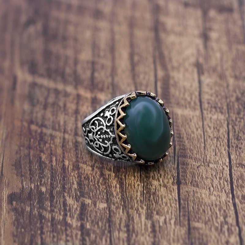 คู่สีใหญ่สีเขียวแหวนหินคลาสสิก royal ornament เครื่องประดับคุณภาพสูงแหวนหิน
