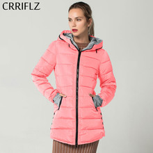 CRRIFLZ New Women Winter Jacket Outwear Slim Cotton Padded Women's Jackets High Quality Female Coat Long Parka Hooded Casual