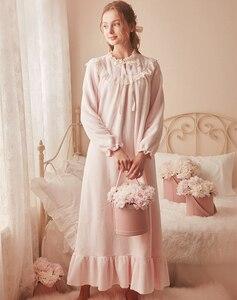 Image 4 - Roze Warme Nachtjapon Winter Nachtkleding Fluwelen Nachtjapon Vrouwen Elegante Nachthemd Lange Homewear Jurk Fluwelen