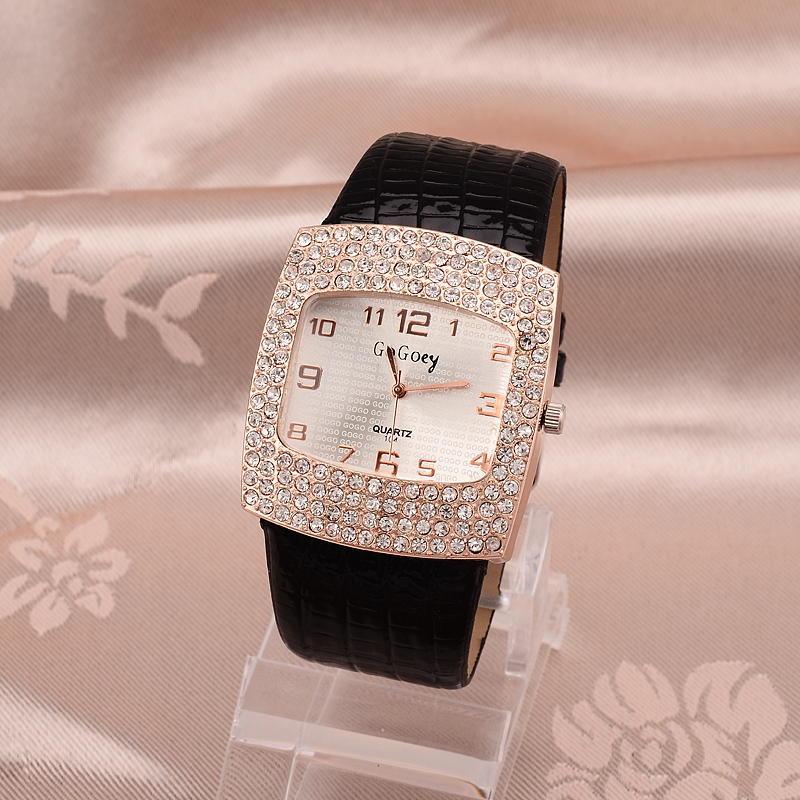 Women Watch Berømte Gogoey Brand Diamond Decoration Watch Kvinder Elegant Square Dial Ladies Watch Reloj Mujer Clock Sæde Montre