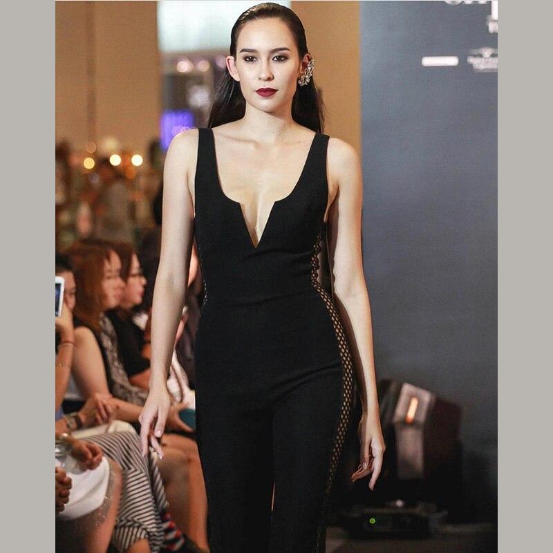 Out Night Creux Arrivée En Combinaisons Gros V Été Femmes Salopette Col Partie Manches Sexy Noir Mode 2018 Nouvelle Profond qBf48Zw