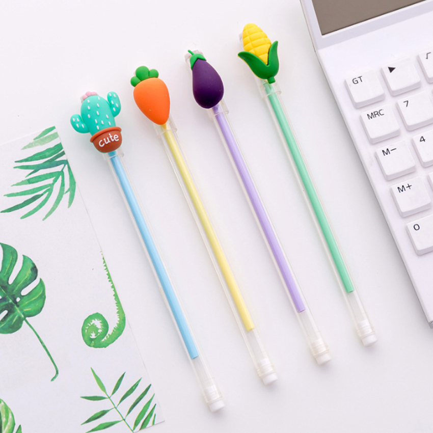 1pcs lot Creative Cartoon Student Three dimensional Vegetables Small Fresh Transparent Pen 0 5mm Black Core Gel Pen 4 Selection in Gel Pens from Office School Supplies