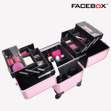 2016 Facebox Brand Three Layer Makeup Box with Trolley Beauty Case with wheels Professional makeup box 4 wheels Black and Pink