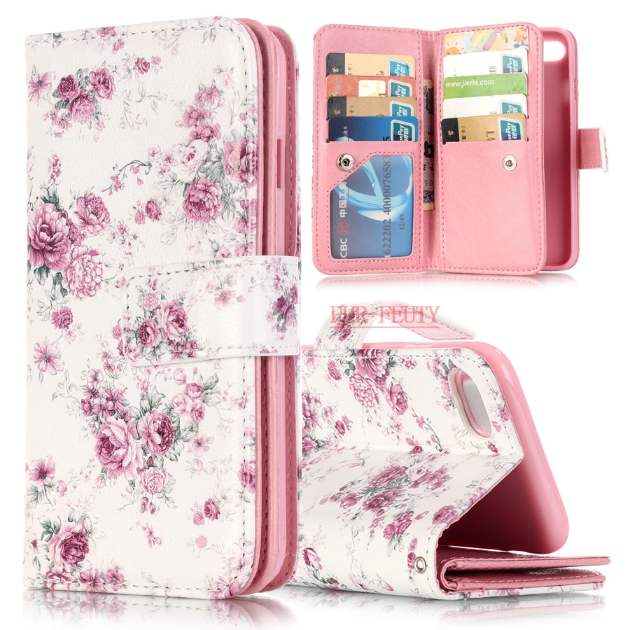 Flower Designer PU Leather And Soft Silicon Case For flip Apple iPhone 7 Case Wallet Stand Cover for iPhone 7 Coque Fundas Capa