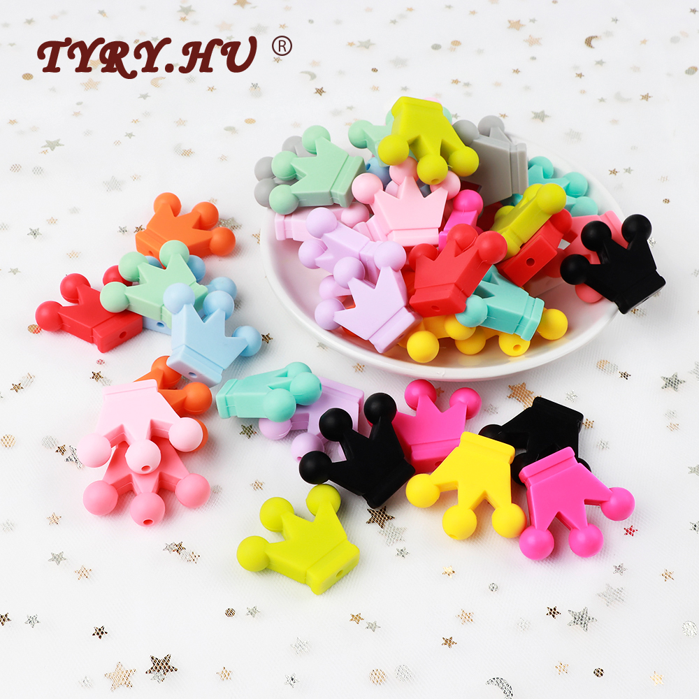 TYRY.HU 20pc Cartoon Crown Silicone Beads Rodents Food Grade Baby Teething Toy DIY Teethers Necklace Nursing Accessorie And Gift