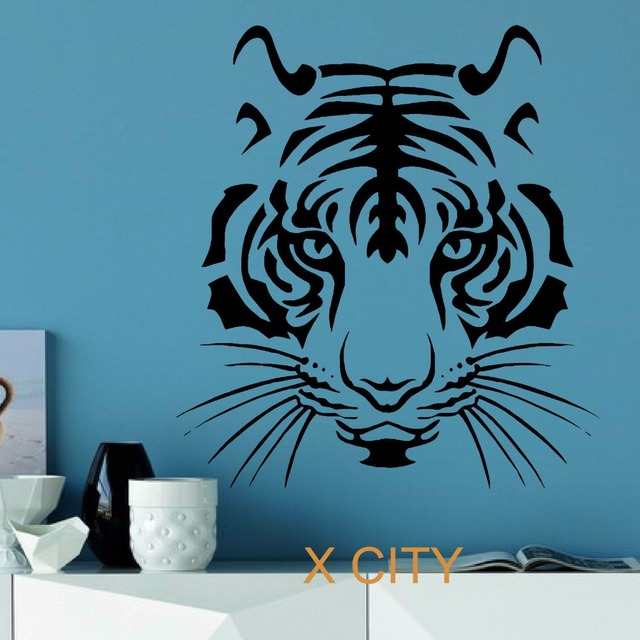 Tiger head wild animal wall sticker vinyl art decal for Decoration autocollant mural