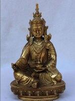 Tibet Buddhism Brass Gilt Seat Lotus Guru Rinpoche Padmasambhava Buddha Statue