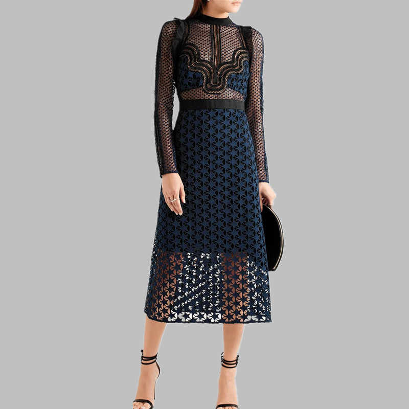 Zelfportret Runway Jurk 2019 Vrouwen Star Hollow Out Lace Mesh Patchwork Lange Mouwen Sexy See Through Hoge Taille Party Dress