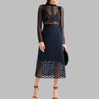 Self Portrait Runway Dress 2019 Women Star Hollow Out Lace Mesh Patchwork Long Sleeve Sexy See Through High Waist Party Dress