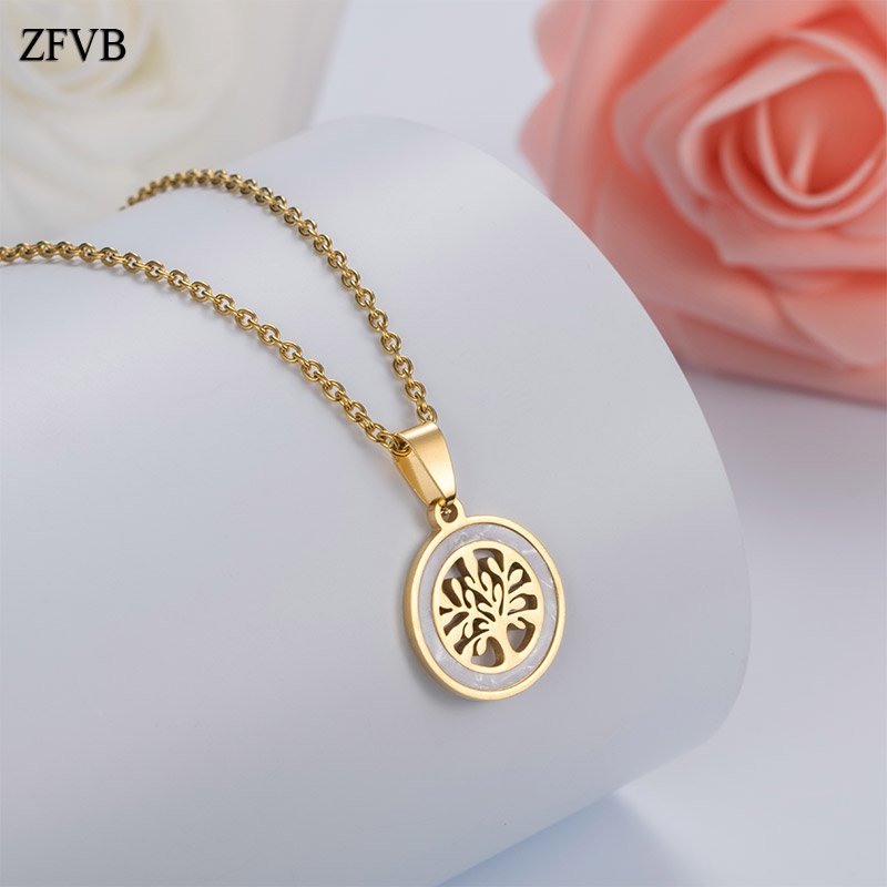 Trendy Women Christmas tree Pendant Necklaces Stainless Steel Gold Color Tree of life Pendants Female Necklace Shell Jewelry
