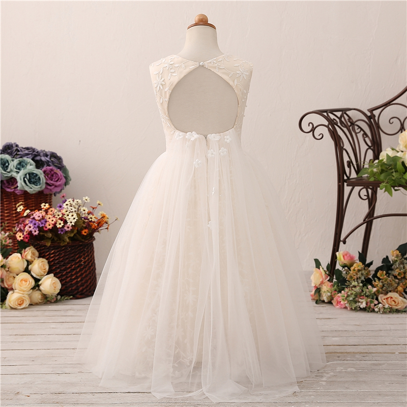 2019 New Ball Gown Lace Flower Girl Long Dresses Backless Girls Wedding Party Communion Gowns Beauty Pageant Dresses For Girls in Flower Girl Dresses from Weddings Events