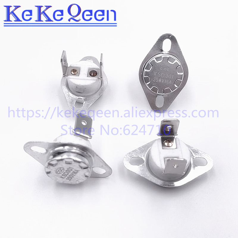 KSD301 250V 10A/16A Closed 100 105 110 115 120 125 130 135 140 145 150 160 Celsius Degree 90 Angle Feet Thermal Control Switch