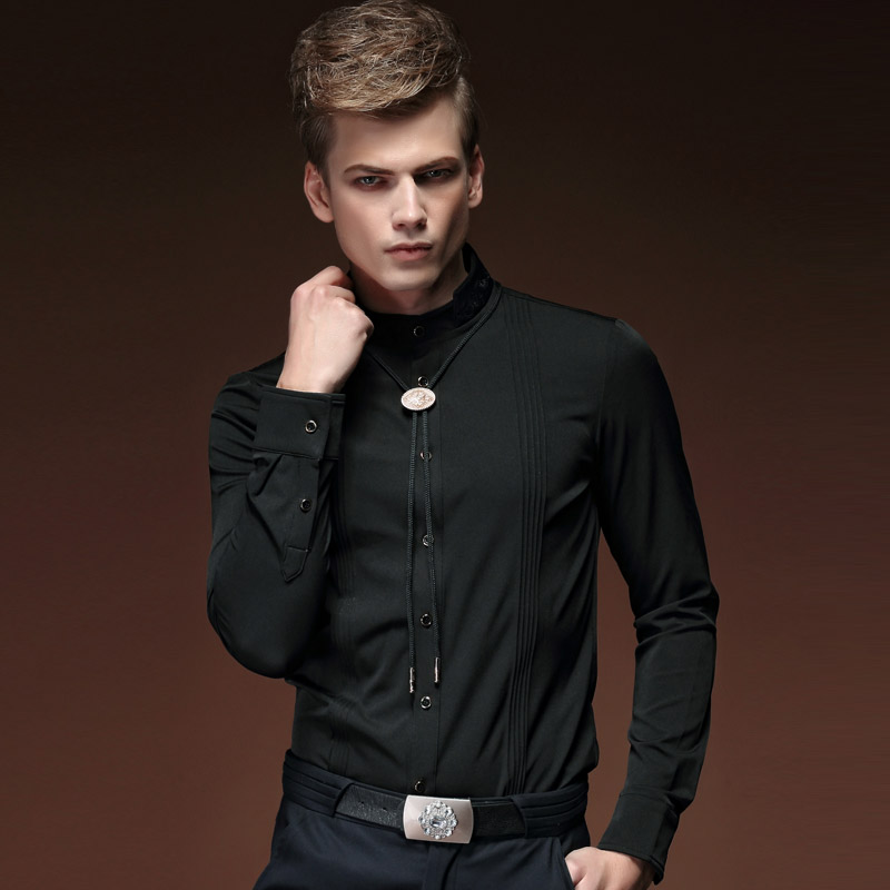 Envío Gratis nueva moda casual otoño primavera hombres de manga larga  camisa negra pura 15219 personalidad en venta 1d5b9afdc490e