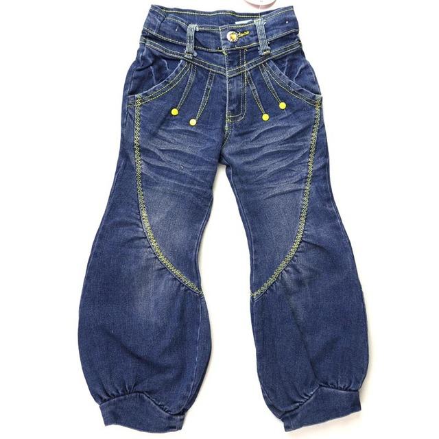 Adolescentes de Jeans Denim criança Bloomers linha amarela bordados Calças 3 botões De Cristal Zipper Calças de dança hip hop MH0282