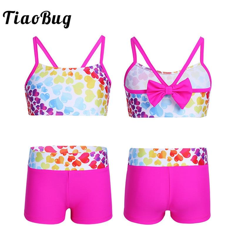 TiaoBug Kids Heart-shaped Pattern Bowknot Back Tankini Girls Swimsuit Swimwear Bathing Suit Children Swim Tops Shorts Bikini Set