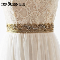 TOPQUEEN AS08 G India Silk Bride Evening Party Gown Dresses Accessories Wedding Sashes Belt Waistband Bridal