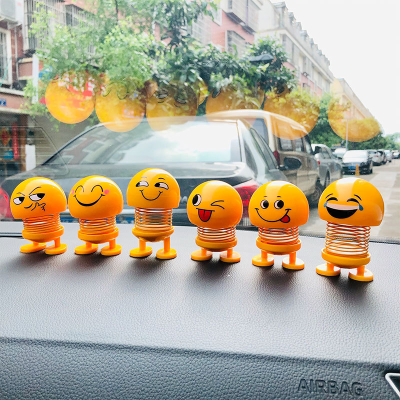 New Product Car Decoration Spring Ornaments Shaking Head Doll Expression Pack