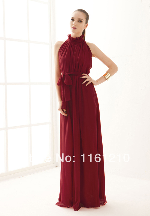 Burgundy Red Evening party long prom maxi dress for women Hot sell 2016