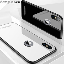 SemgCeKen luxury glass mirror case for apple iphone X XR XS MAX S i xsmax silicone silicon hard back coque tpu phone cover etui