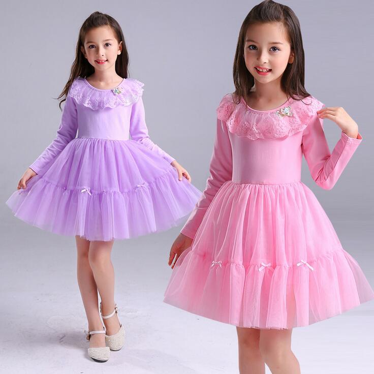 Nueva Niñas manga larga princesa vestido de encaje tulle rosa ...