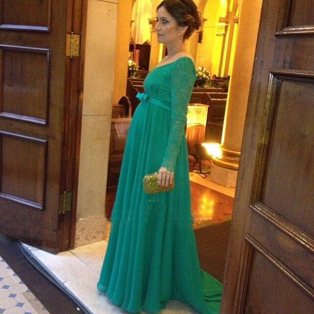ef4693e41 Verde larga mujer embarazada manga vestido De noche largo Formal Prom noche  del partido vestidos Robe