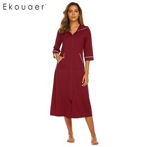 Image 2 - Ekouaer Women Hooded Nightgown Long Home Dress Solid Hooded Long Sleeve Zipper Robe Nightdress Ladies Sleepwear
