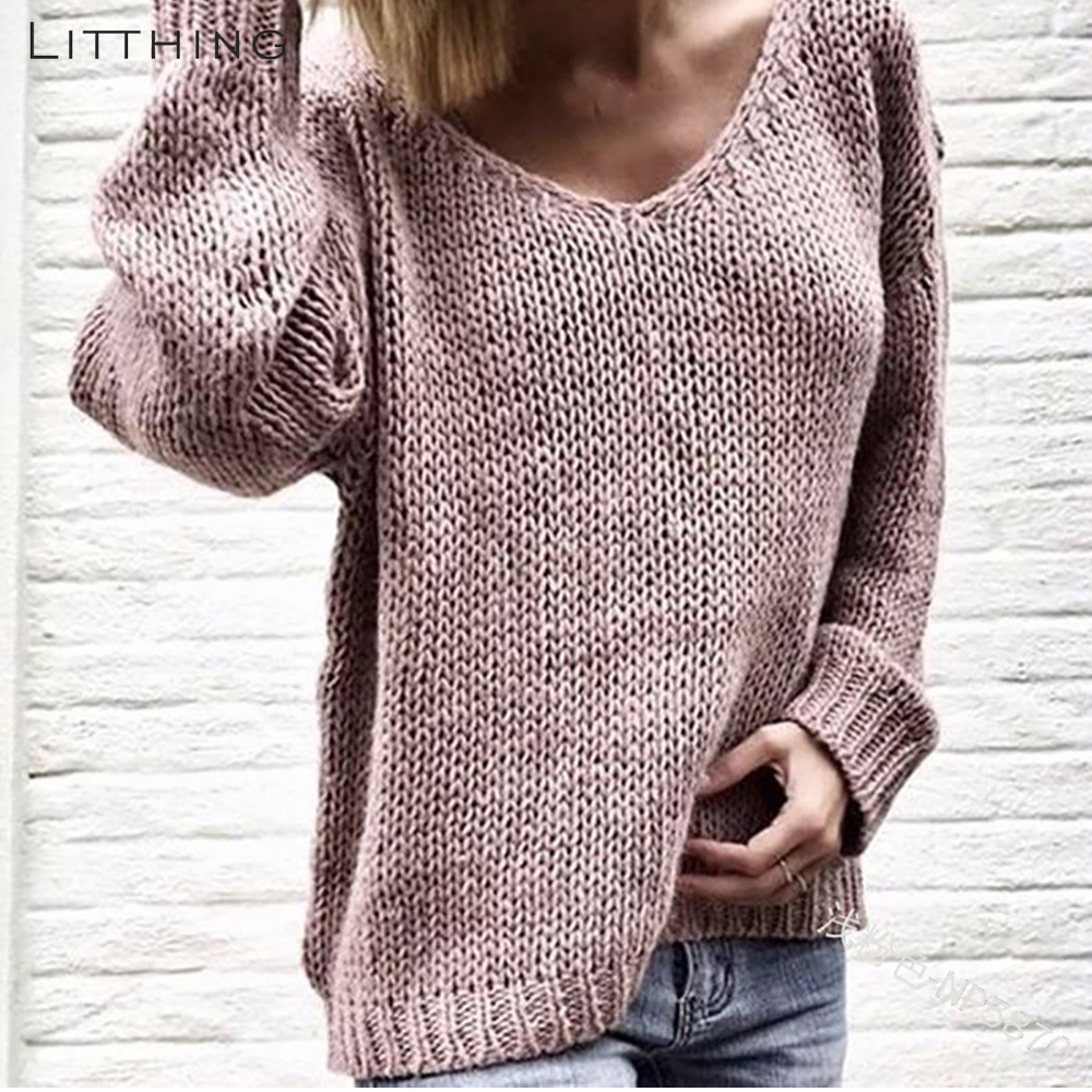 LITTHING Sweater Slim Pullovers Jumpers Sueter Long-Sleeve Knitted Women Femme Winter