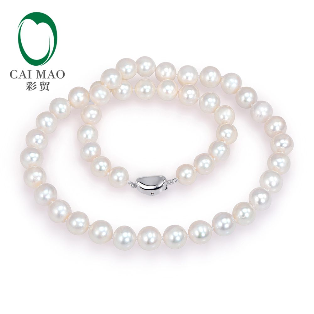 18 inches Natural Freshwater Pearls Sterling Silver 925 Necklace Free shipping18 inches Natural Freshwater Pearls Sterling Silver 925 Necklace Free shipping