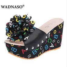 WADNASO New Women Sexy shoes 2019 Fashion High Heels Slipper Flower Platform Wedges Thick Crust Muffin summer Slippers Eu 35-39