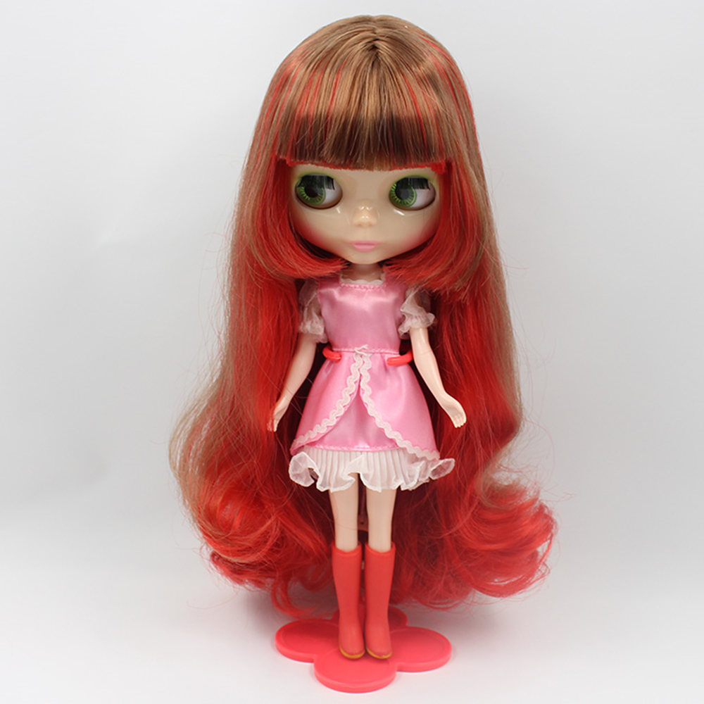 Brown And Red Long Curly Hair With Bangs Factory Bl12489158 Blyth Girl Doll For Child Gift Open-Minded Blyth Doll Normal Body