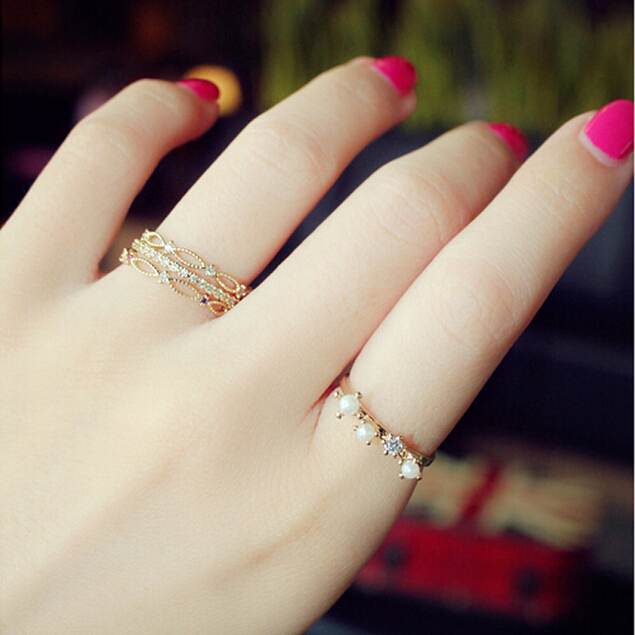 Beautiful Ring Set ,2015 New Fashion Crystal Pearl Gold ...