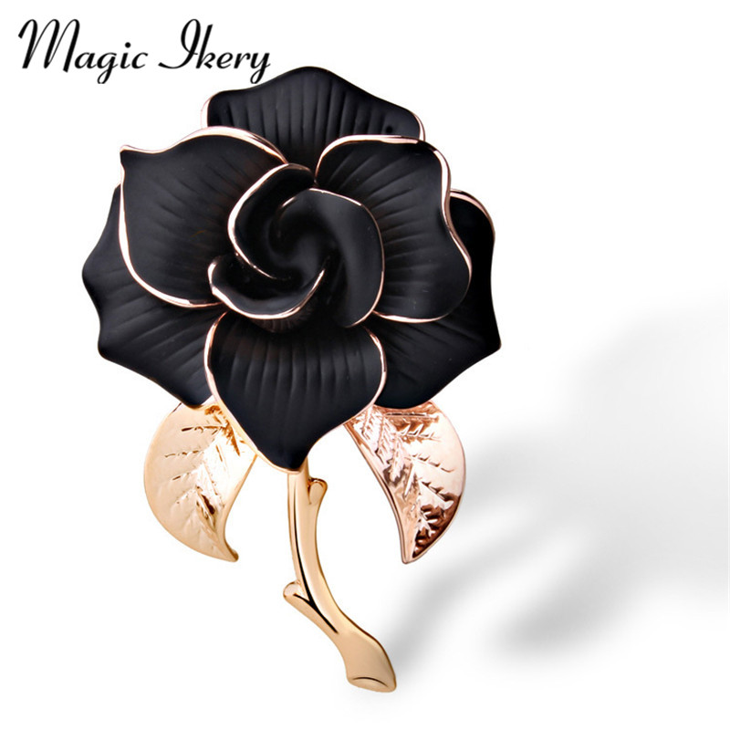 Magia Ikery Rose Gold Color Zircon Crystal Luxury Camellia Broches Ventas por mayor Joyería de moda para mujeres MKY5791