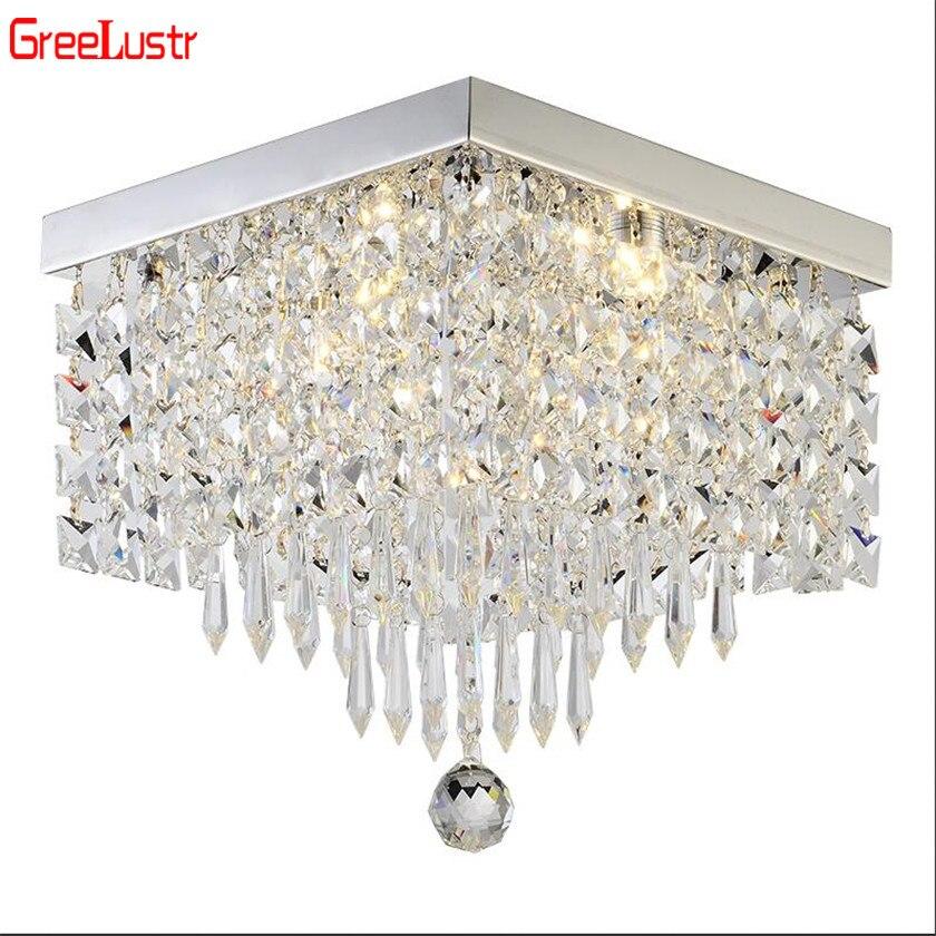 Lustres en cristal modernes, éclairage du Lustre en cristal en céramique carré pour le salon Lustre en cristal à commande de plafond
