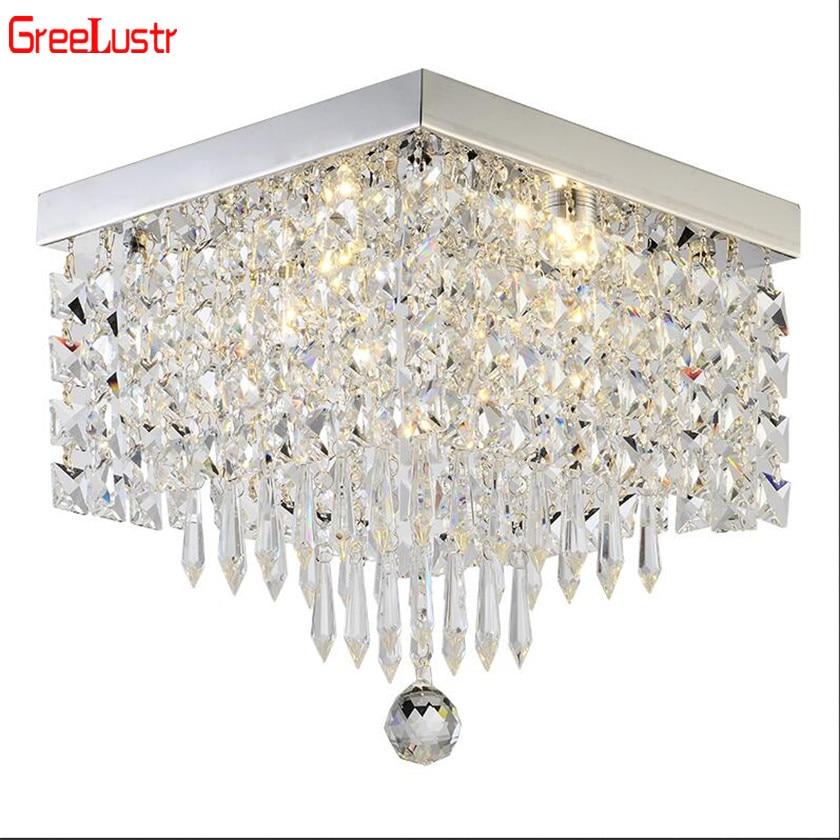 Nowoczesna kryształowa oświetlenie ledowe żyrandole kwadratowe lampy LED Lustre do salonu kryształowy żyrandol LED oprawa sufitowa