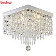 Nowoczesna kryształowa oświetlenie ledowe żyrandole kwadratowe lampy led Lustre do salonu kryształowa oprawa sufitowa LED żyrandol