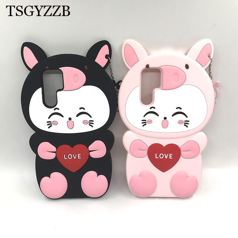 Case For Huawei P30 Pro 3D Cute Cartoon Pig Piglet Smiley Love Beard Cat Ear Cover Lite Couqe