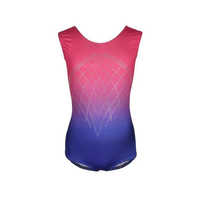 812ad6b78203 Children Girls Sleeveless Diamond Highlights Gradient Color Body Suit  Ballet Gymnastics Clothing Dance Kids Ballet Dance Clothes