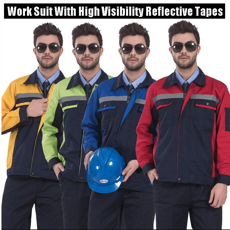 Functional Workwear Mens Workwear Factory Uniform Suit Jacket And Pants 2 PCS Enhanced With High Visibility Reflective Tapes